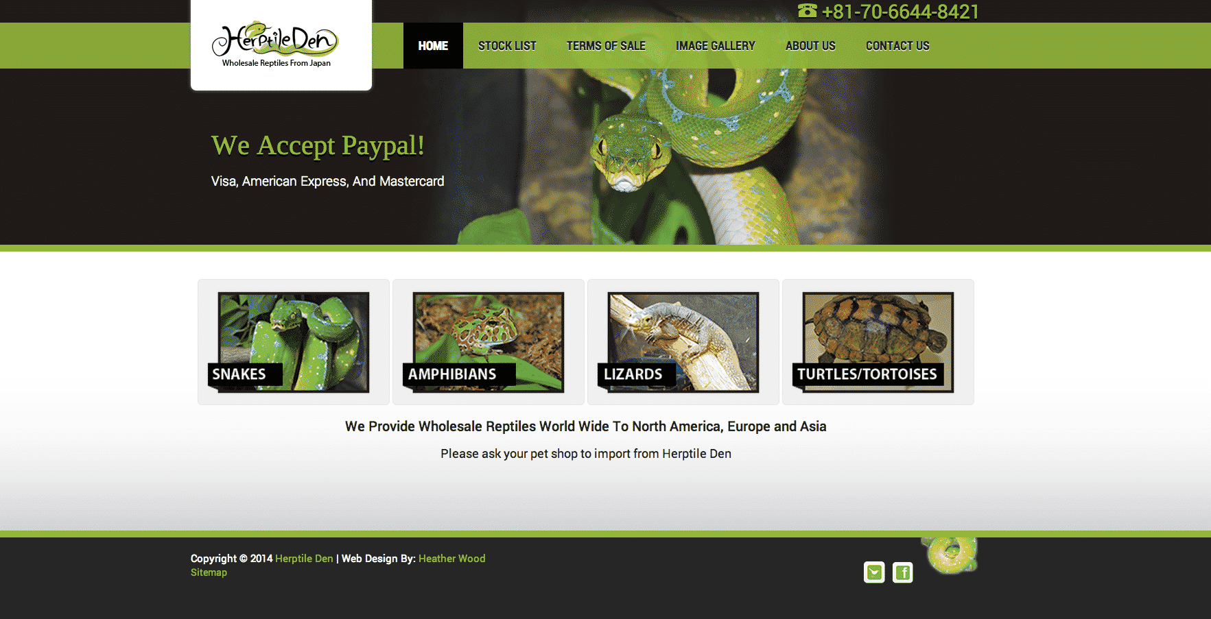 reptile web design example green and black