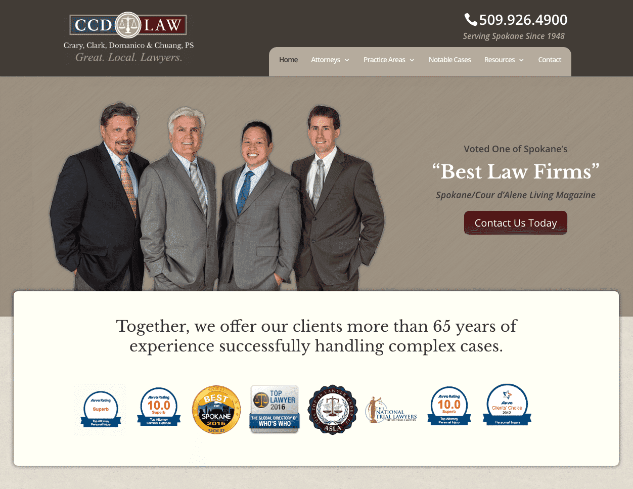 Lawyer Web Design Example of CCD LAW in Spokane, WA