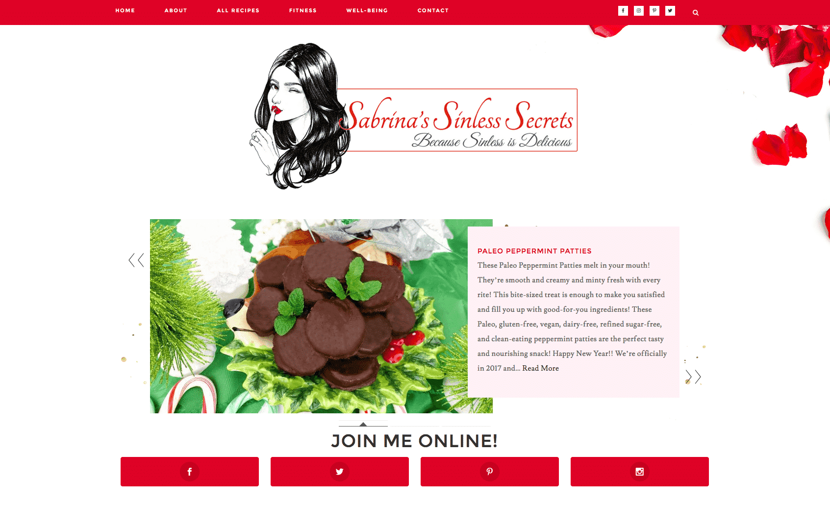 Recipe Blog Web Design Example of Sabrina's Sinless Secrets