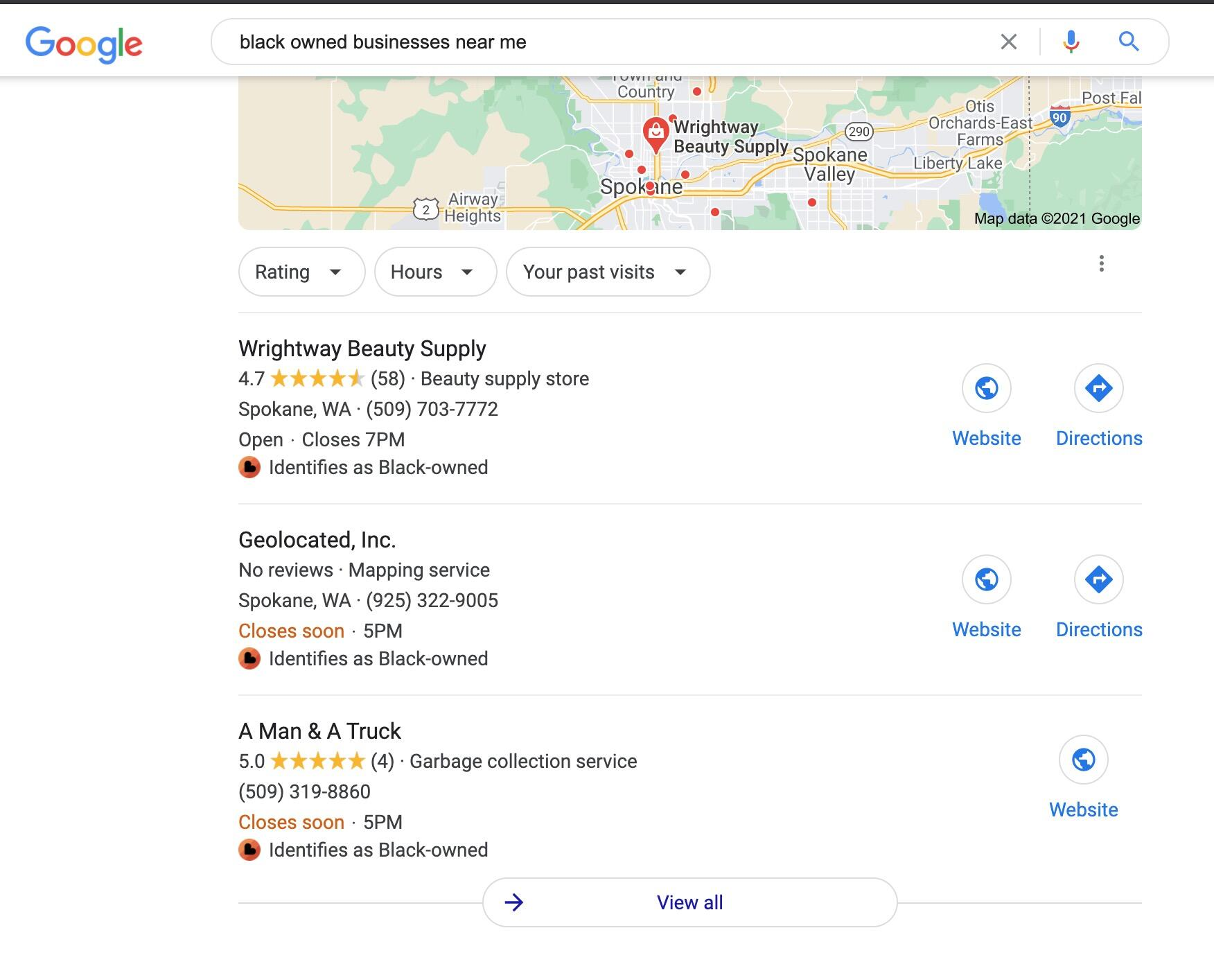 Black owned businesses near me google results