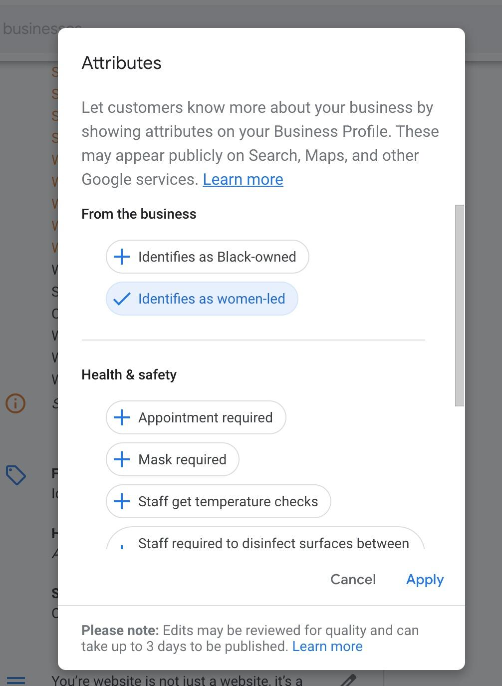 How to set identifies as black owned in google